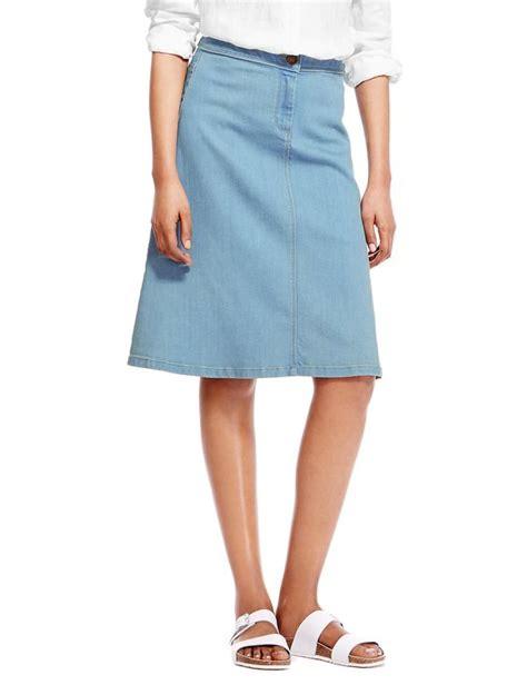 a line knee length denim skirt a line knee length