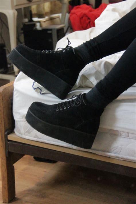 black suede combat creeper boots t u k shoes t u k shoes