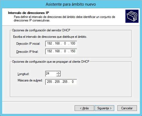 www inicio ineval configuracion de un servidor dhcp y reserva de direcciones