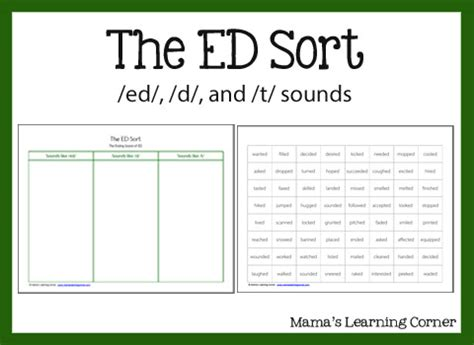 3 sounds of ed worksheet the ed sort mamas learning corner