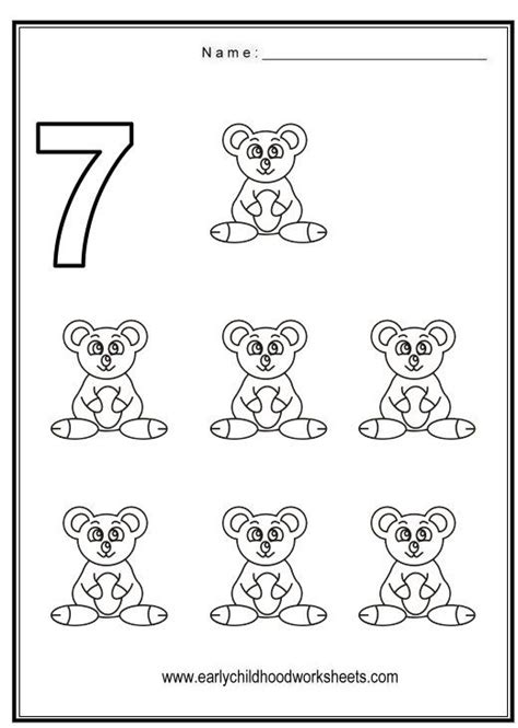 Number 7 Coloring Pages For Preschoolers by Number 7 Worksheets Coloring Number 7 Animal Themes