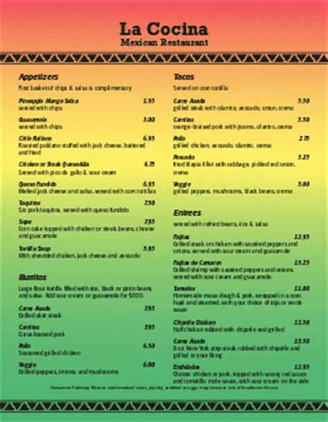 mexican menus mexican menu templates musthavemenus