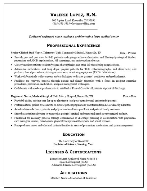 Resume Exles Nursing Career Resume Sle For A