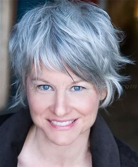 funky hairstyle for silver hair trendy short hairstyles for women over 40 pictures 1