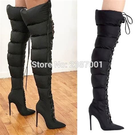 trendy design lace up puffer boots stiletto heel