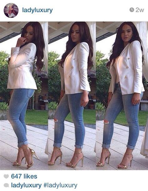 white blazer neutral colored tank black jeans pants asos asos whitby jean skinny taille basse avec