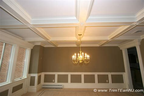 Dining Room Wainscoting Ideas by Coffered Ceilings And Beams Traditional Dining Room