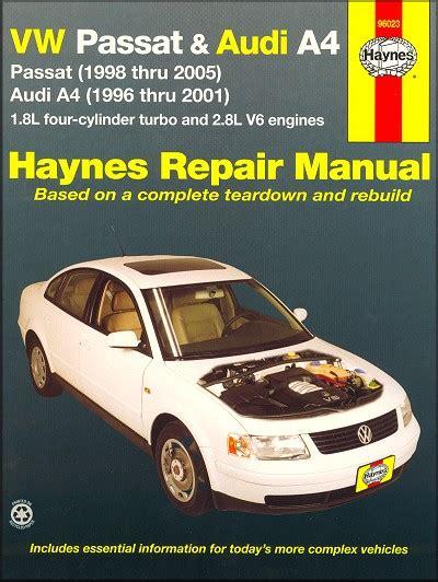 car manuals free online 1998 volkswagen rio spare parts catalogs vw passat 1998 2005 audi a4 1996 2001 repair manual haynes