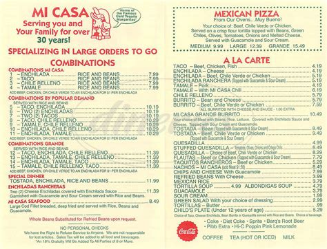 Menu Messicano A Casa by Mi Casa Mexican Restaurant Menu Costa Mesa Dineries