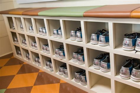 Bowling Alley Shoe Rack by Vintage 1950s Equipment Restored For Retro Home Bowling