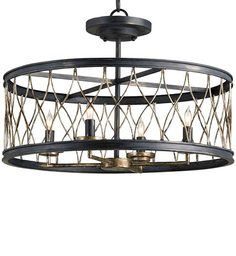 4 Light Semi Flush Ceiling Fixture Currey Company 9902 Crisscross 4 Light Semi Flush Lighting With Black Pyrite Bronze