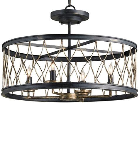 Currey & Company 9902 Crisscross 4 Light Semi Flush Lighting with French Black/Pyrite Bronze