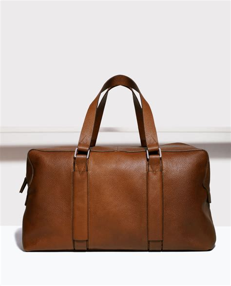 Zara Leather Bag zara leather holdall in brown for lyst