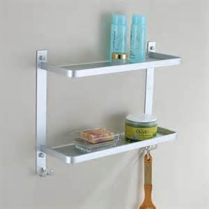 412mm aluminum 2 tier bathroom wall shelf shower caddy