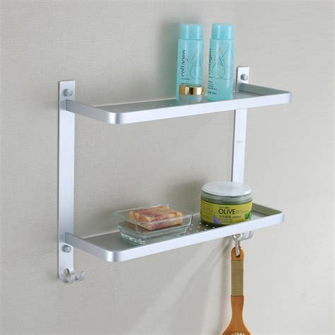 Bathroom Accessories Shelves 412mm Aluminum 2 Tier Bathroom Wall Shelf Shower Caddy Storage Rack Holder With Hook The