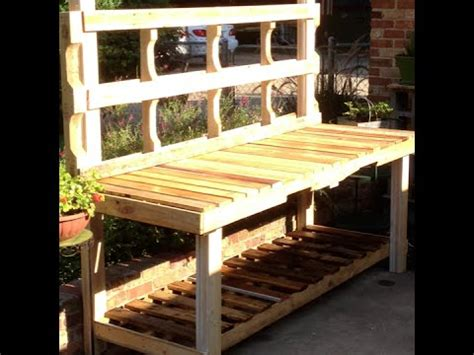 how to make a bench from pallets using pallets to build a potting bench youtube