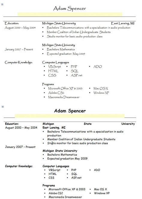 Font Resume by Font For A Resume Resume Ideas