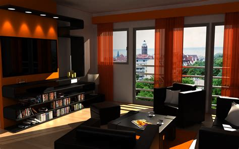 living room decor with orange and brown room decorating