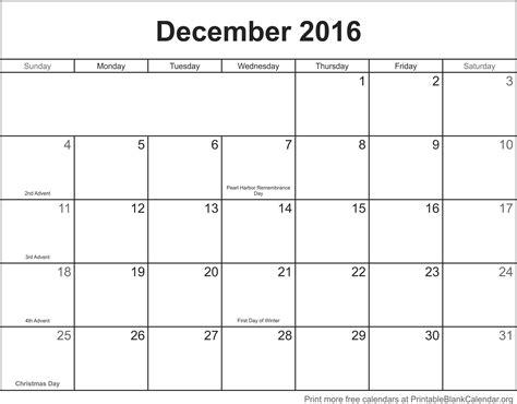 printable free december calendar december 2016 printable calendar printable blank