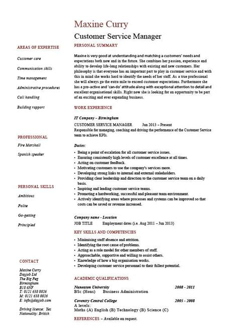 cv template for customer service manager customer service manager resume sle template client satisfaction cv description skills