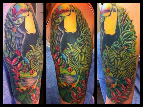 quarter sleeve forest tattoo off the map tattoo tattoos flower vine rainforest