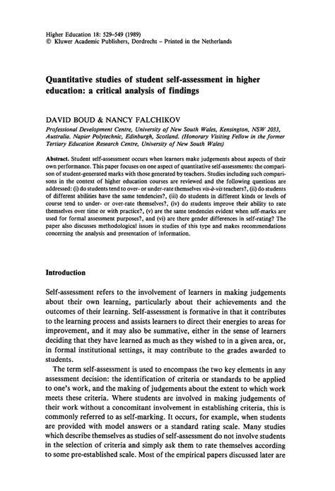 quantitative studies of student self assessment in higher