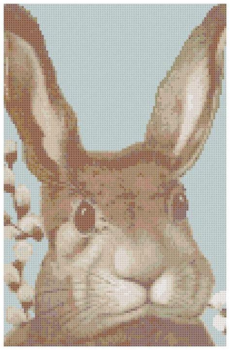 vintage easter pattern vintage easter rabbit head cross stitch pattern pdf by