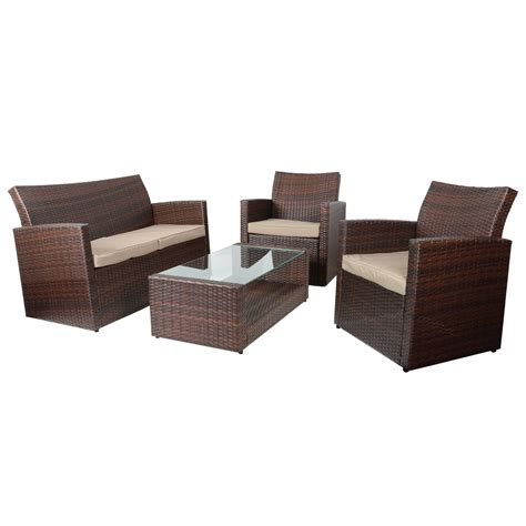 wicker couch set 4pc tuscany rattan wicker sofa set garden conservatory