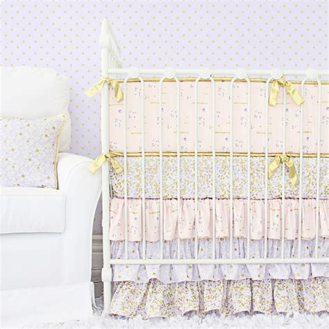 gold crib bedding lilac and gold sparkle crib bedding set by caden lane