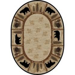 8x10 Outdoor Area Rugs 8x10 Oval Lodge Cabin Rustic Bear Pine Leaf Beige Area Rug Free Shipping Ebay