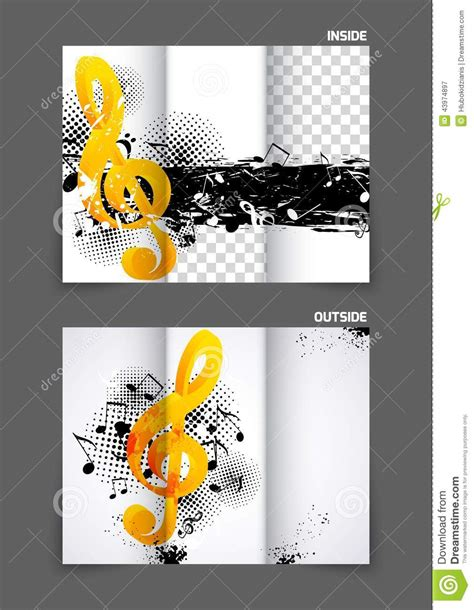 music tri fold brochure stock vector image 43974897