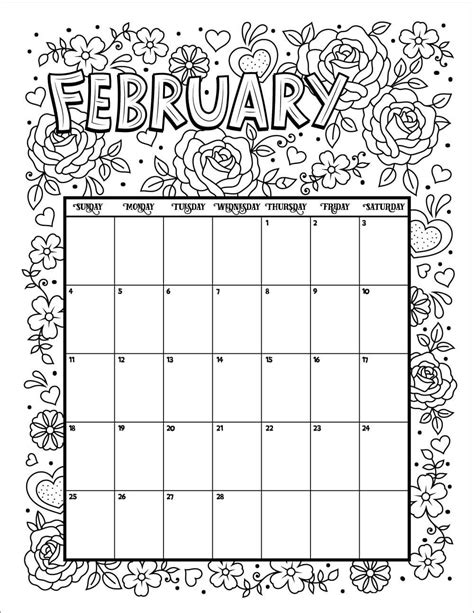 printable calendar 2018 to color 20 free printable february coloring pages