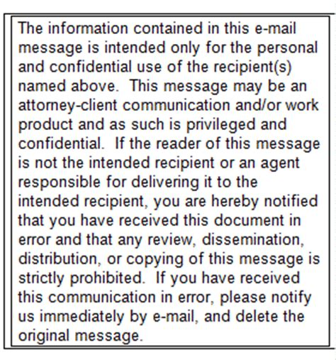 Email Disclaimers Legal Effect In American Courts Email Confidentiality Statement Template