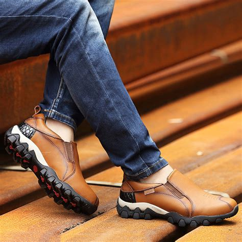 Genuine Leather Slip On Sneakers mannen genuine leather wear bestendig outsole elastic band