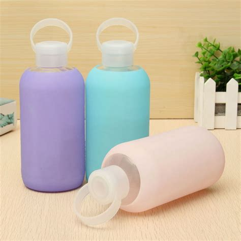 Creative Portable Sports Glass Water Bottles 300ml Botol Minum 500ml creative glass water bottle portable glass cups mini water bottle alex nld