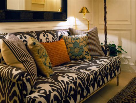 ikat sofa left coast luxe upholstery in bold prints
