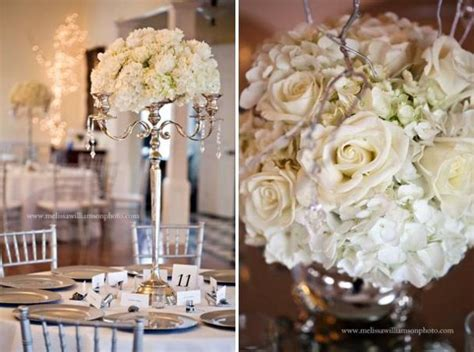 shabby chic silver white centerpiece indoor reception