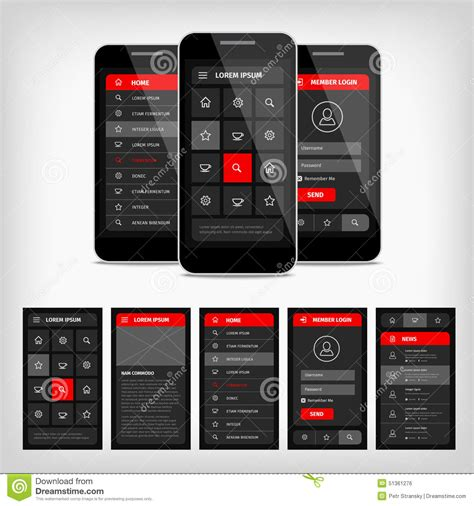 layout template mobile vector template mobile user interface stock vector image