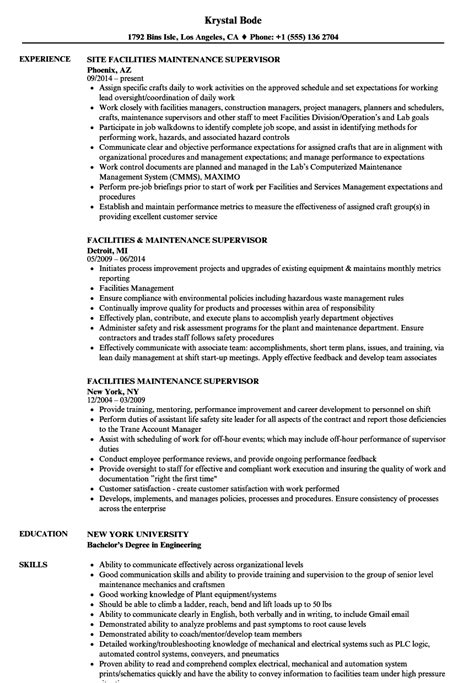 maintenance resume exles facilities maintenance manager sle resume
