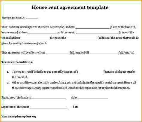rental agreement template 4 sle house rental agreement teknoswitch