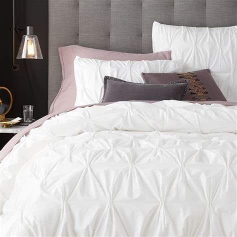 The All White Bed Style Organic Cotton Pintuck Duvet Cover Shams White West Elm
