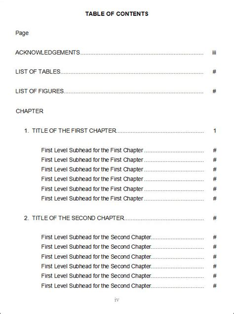 page of contents template table of contents template 9 free documents in