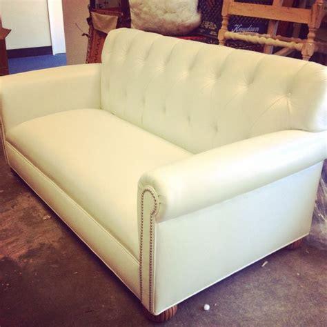 white leather sofa with nailheads custom white leather sofa w chrome nailhead detail built