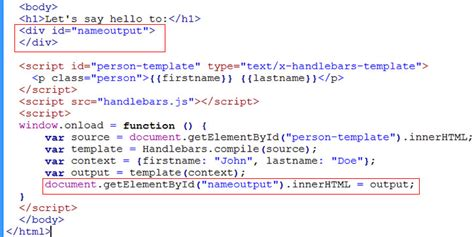 tutorial javascript getelementbyid step by step getting started tutorial on using handlebars