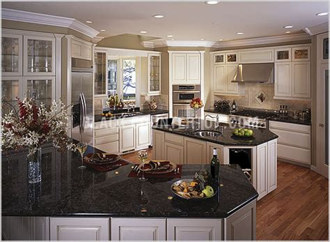 kitchens with white cabinets and black granite kitchen