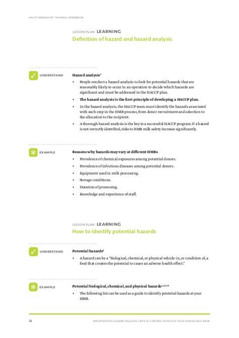 haccp d馭inition cuisine human bank hazard analysis plan trainee workbook