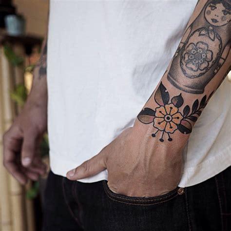 tattoo flower traditional yellow traditional flower wrist tattoo best tattoo ideas