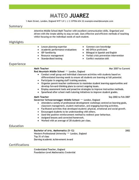 resume sles for teachers with experience best resume exle livecareer