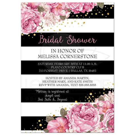 Kitchen Tea Gift Ideas For Guests bridal shower invitation black stripes pink flowers and
