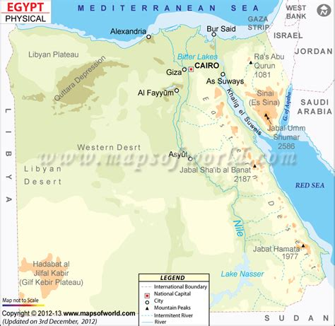 Physical Map of Egypt, Egypt Physical Map